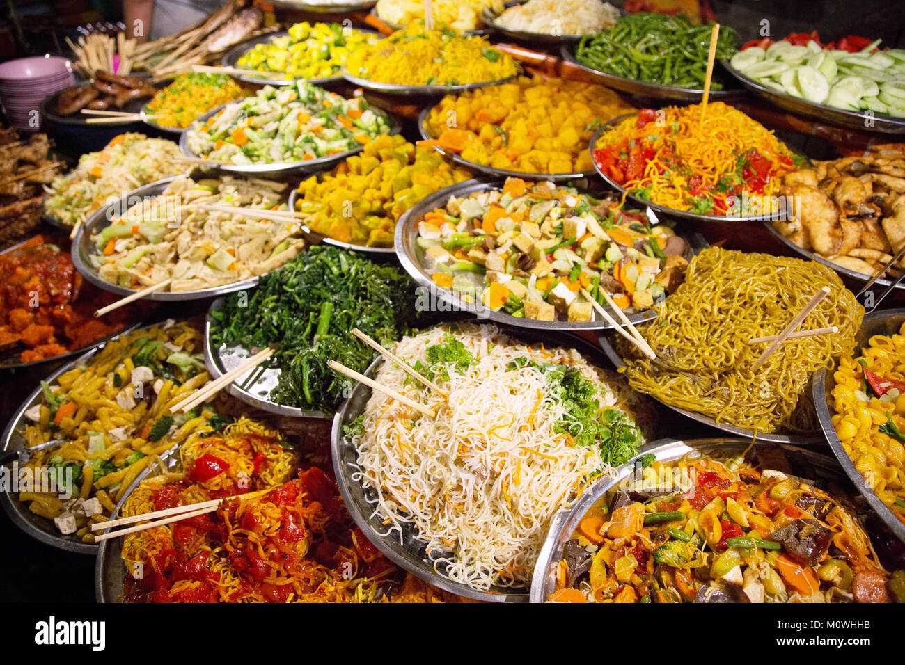 Street food at the Nightmarket in UNESCO Worldheritage Town of Luang Prabang, Laos, Indochina - Stock Image
