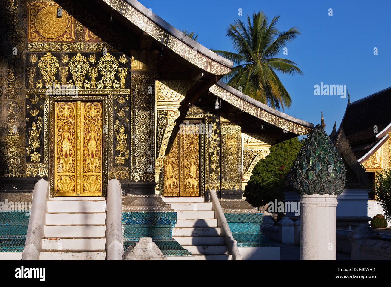 Wat Xieng Thong Temple in UNESCO World Heritage Town Luang Prabang, Northern Laos - Stock Image