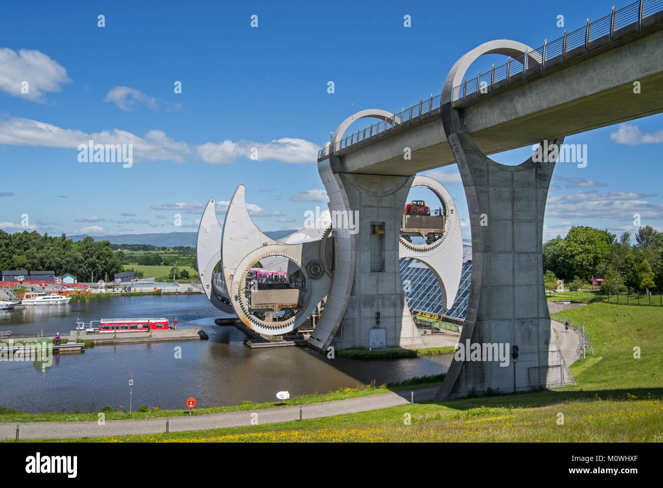 Falkirk Wheel, rotating boat lift connecting the Forth and Clyde Canal with the Union Canal, Stirlingshire, Scotland, - Stock Image