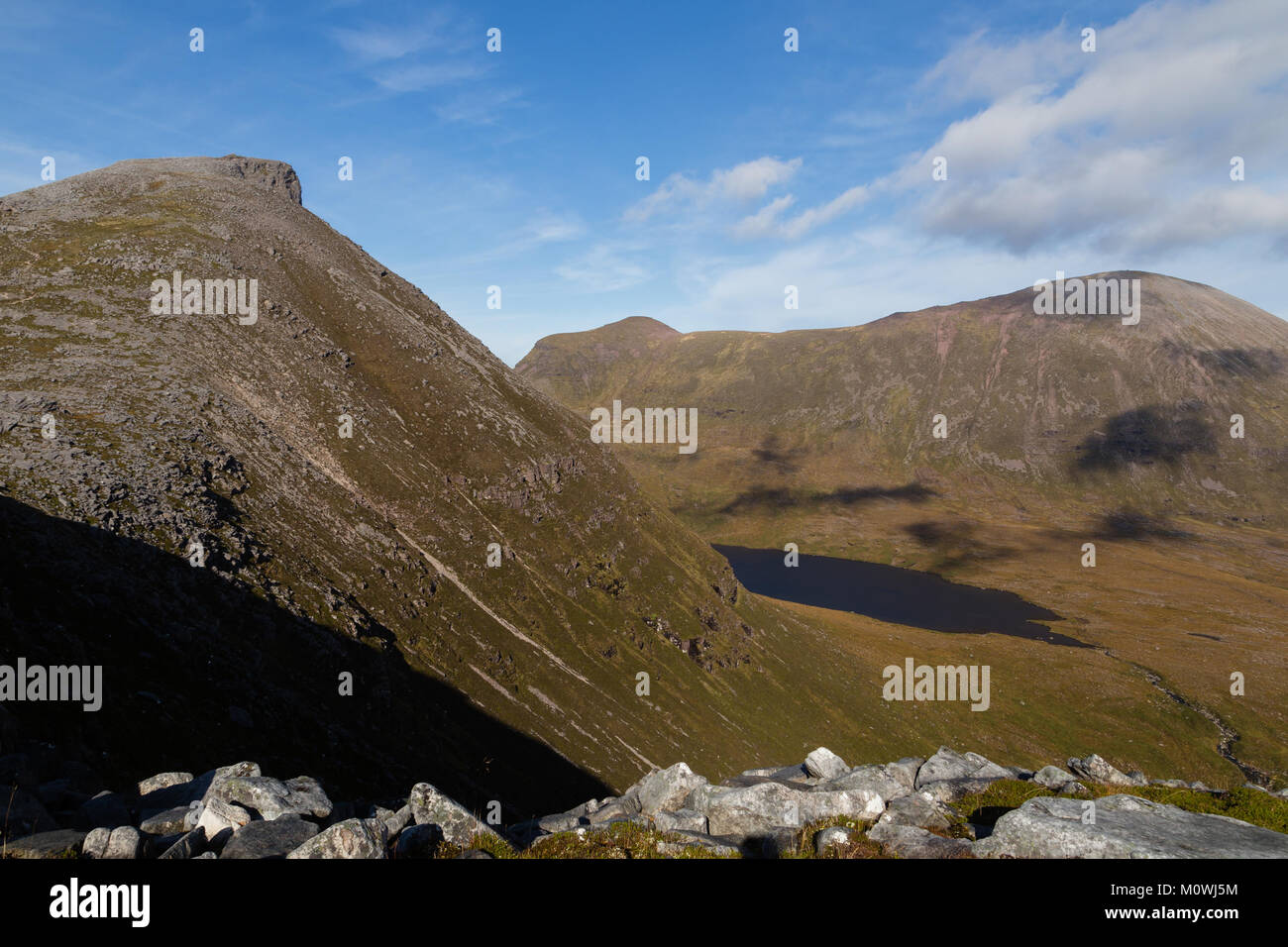 The view from Quinag, a mountain in the North West Highlands of Scotland - Stock Image