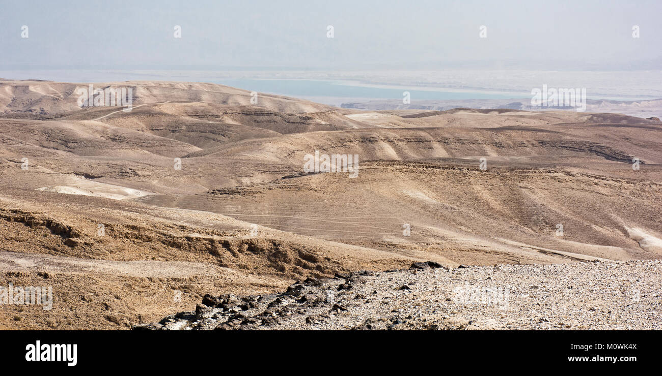 view of the Dead Sea from the overlook in Arad, Israel - Stock Image