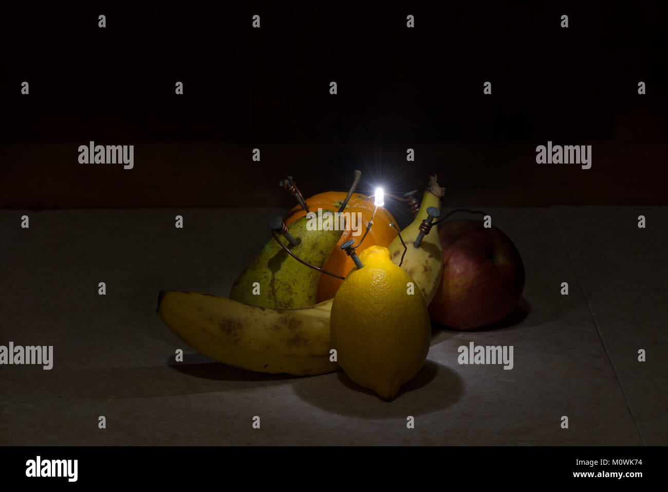 Five A Day 5 Fruit To Provide Energy Power Supply Electricity Stock Led Light Circuit Alternative For The With Produced As Electrical