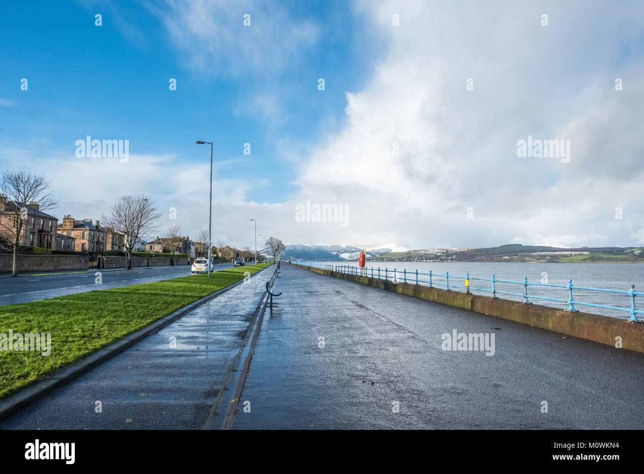 Greenock, Scotland, UK - January 19, 2018: Greenock's Esplanade in the west end of the town looking West to - Stock Image