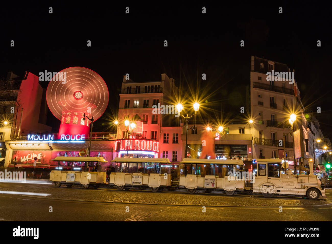 Moulin Rouge and Pigalle place in Paris - Stock Image