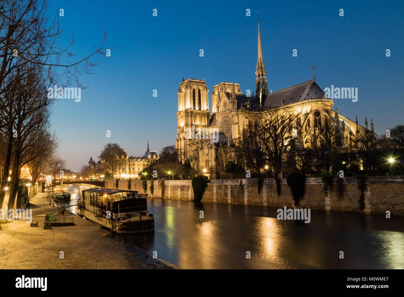 Notre Dame de Paris in night time, France Stock Photo