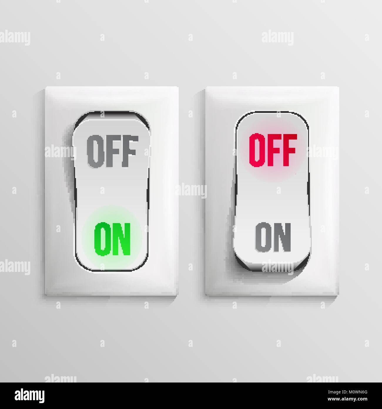 3D Toggle Switch Vector. White Switches With On, Off Position. Electric Light Control Illustration. - Stock Image