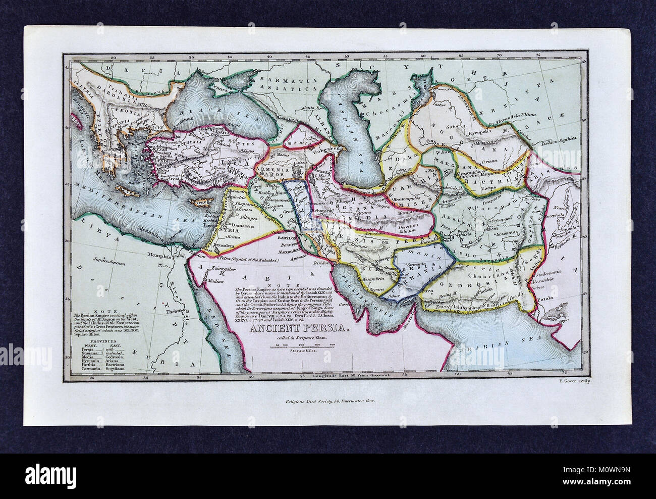 1799 Bible Tract Society Map - Ancient Persia or Elam According to the Old Testament - Stock Image