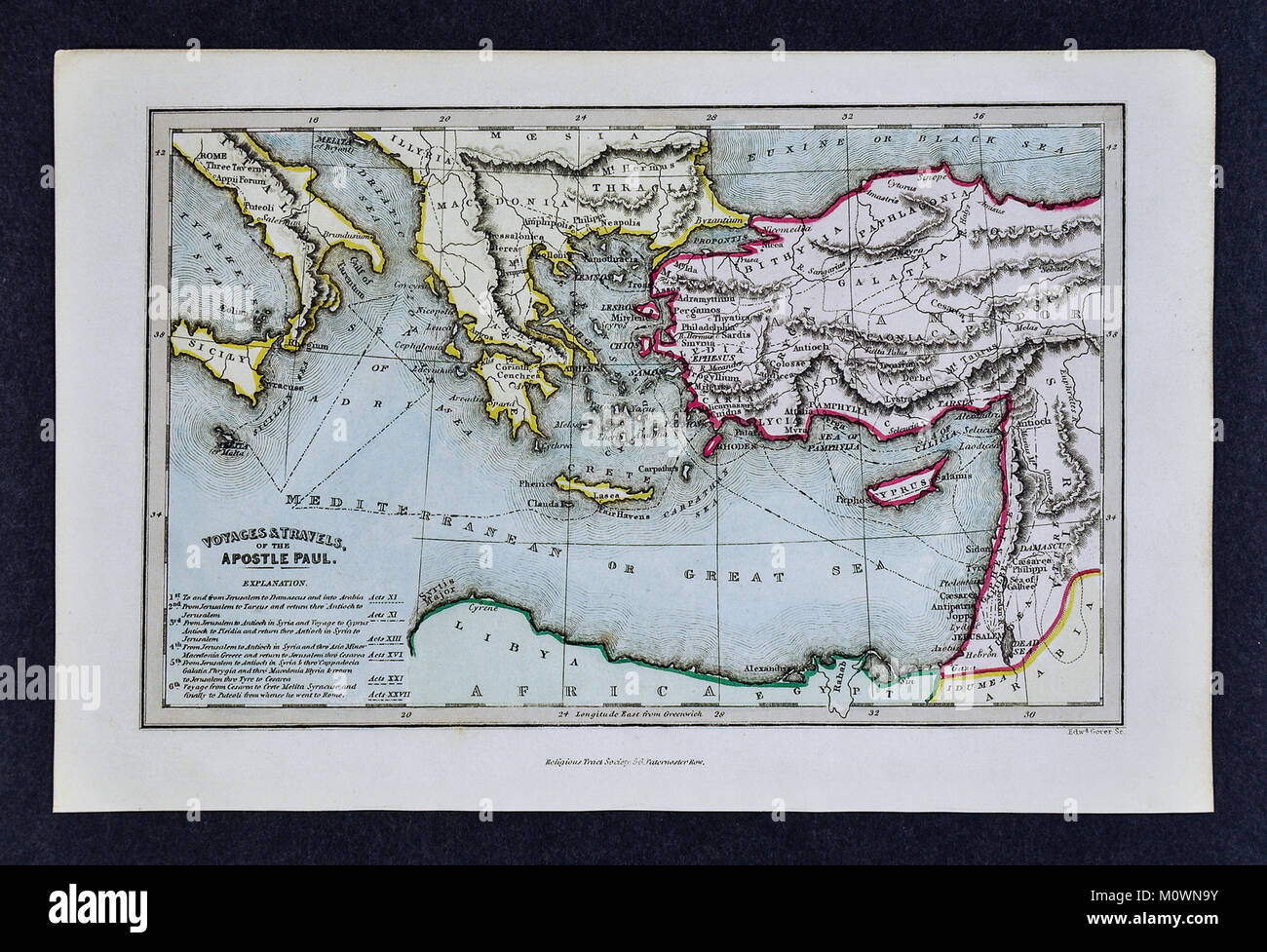 1799 Bible Tract Society Map - The Voyages and Travels of the Apostle Paul in the New Testament Acts - Stock Image