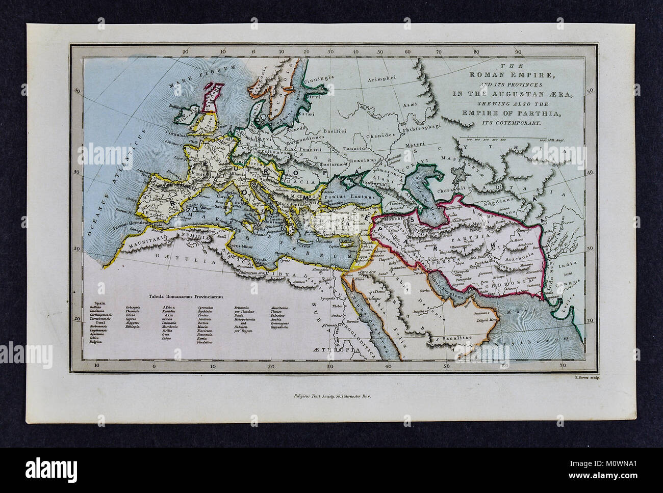 1799 Bible Tract Society Map - The Roman Empire and its Provinces in the Era of Augustus - Stock Image