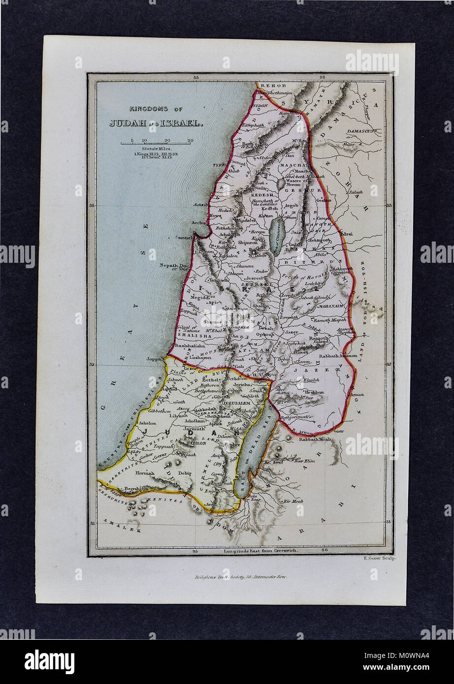 1799 Bible Tract Society Map - Old Testament Kingdoms of Judah and Israel - Stock Image
