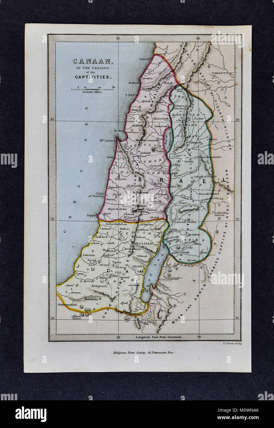 1799 Bible Tract Society Map - Canaan at the Time of Captivities - Ancient Judah & Israel - Old Testament - Stock Image