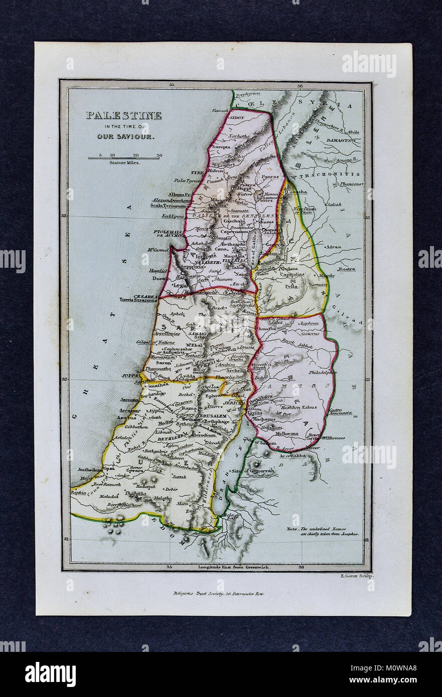 1799 Bible Tract Society Map - Palestine in the Time of Our Savior - New Testament Holy Land Jesus Christ - Stock Image