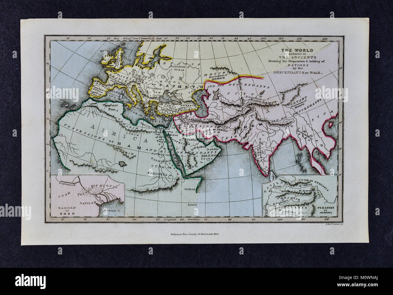 1799 Bible Tract Society Map - The World as Known to the Ancients Showing the Dispersion and Settling of Nations - Stock Image