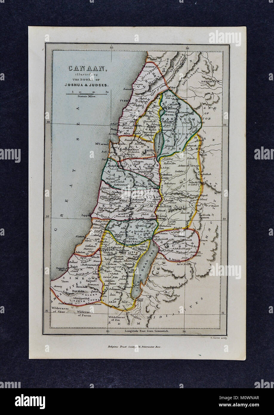 1799 Bible Tract Society Map - Canaan illustrating the Book of Joshua & Judges - Jerusalem Israel Old Testament - Stock Image