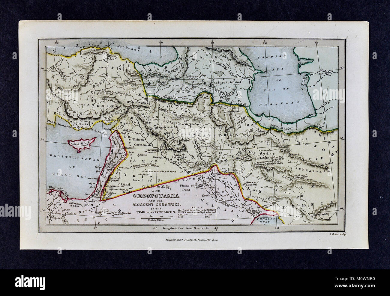 1799 Bible Tract Society Map - Canaan with Mesopotamia and Middle East in the Time of the Patriarchs Old Testament - Stock Image