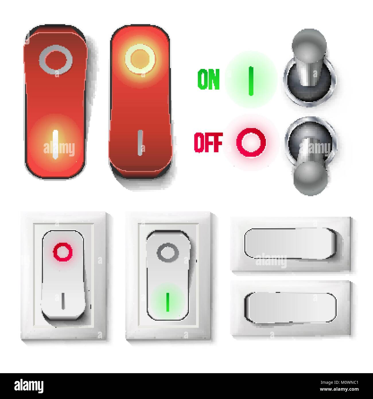 Toggle Switch Set Vector. Plastic And Metal Switches With On, Off Position. Isolated On White Button Illustration. - Stock Image
