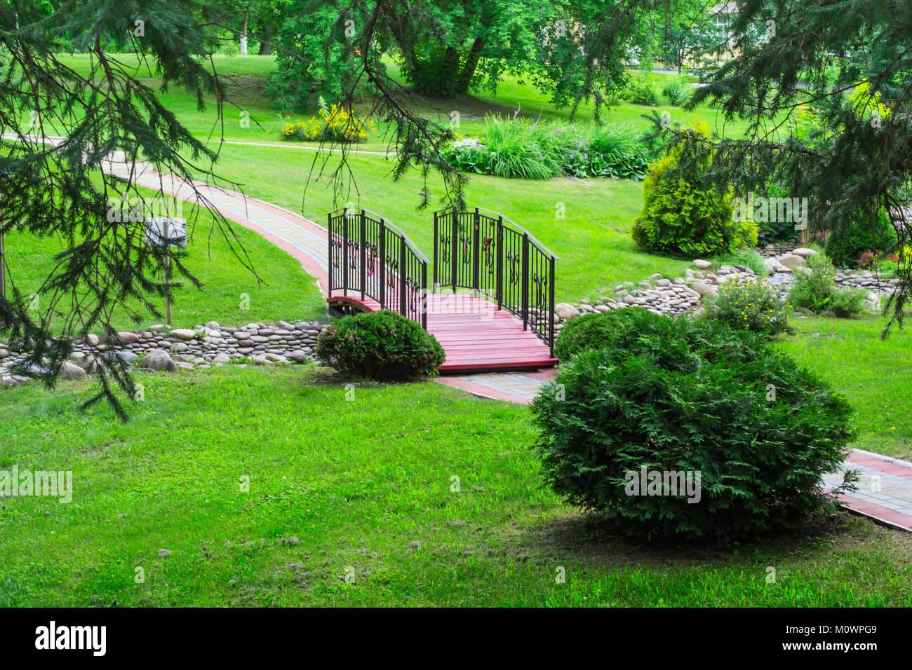 Bridge Over The Brook In The Park Landscape Design Concept Stock