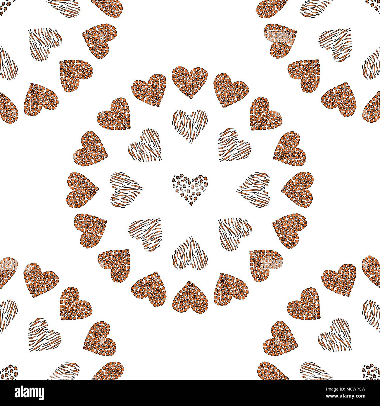 Seamless pattern background with wild heart. - Stock Image