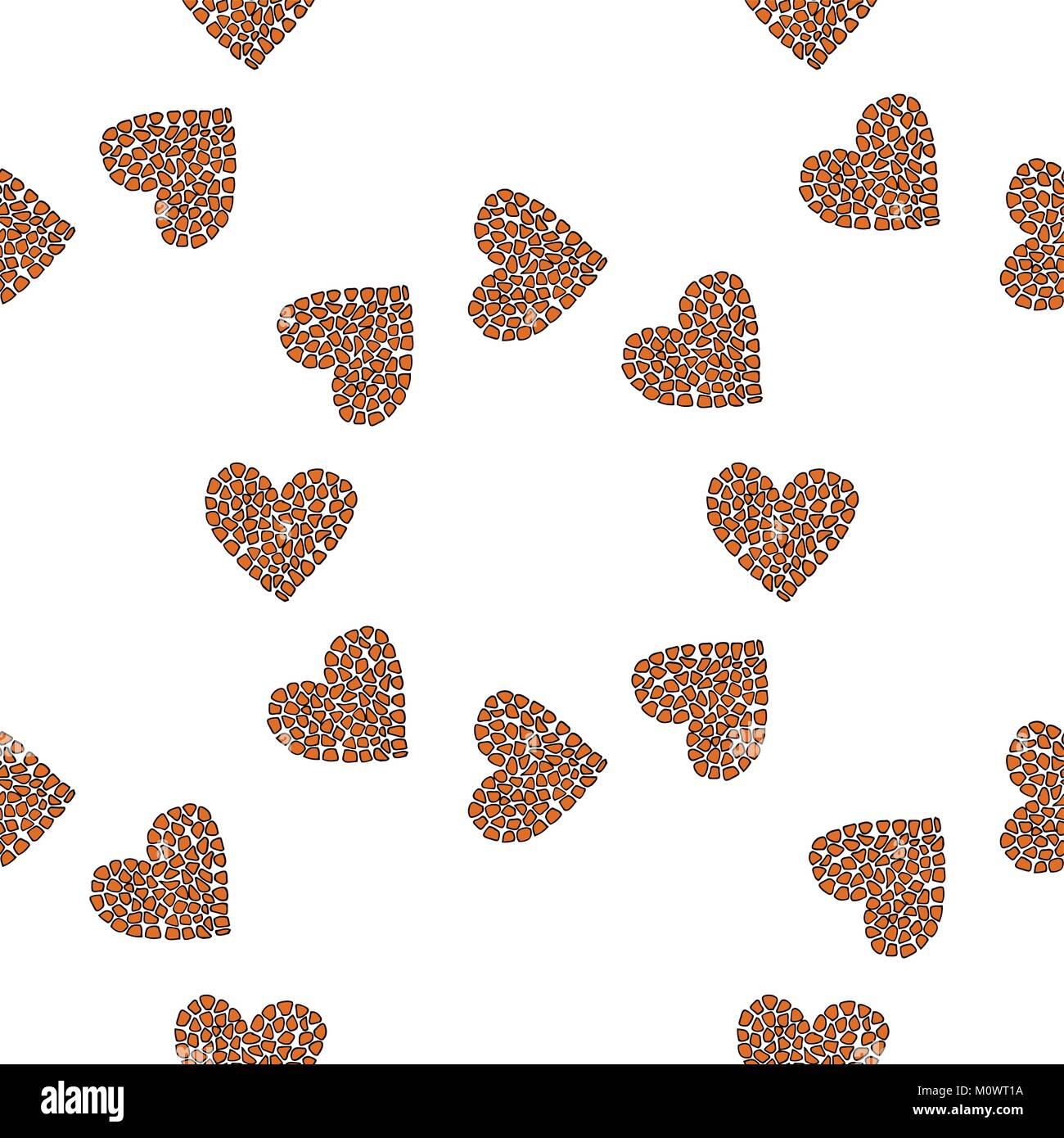 Seamless pattern background heart - Stock Image
