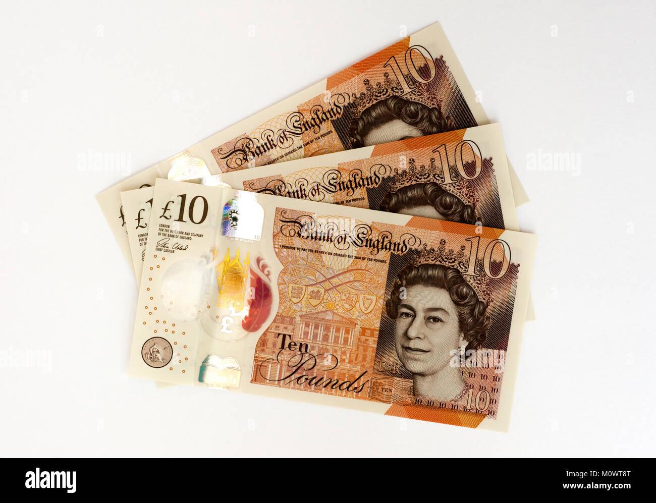 UK 10 Ten Pound Polymer Bank Note - Stock Image