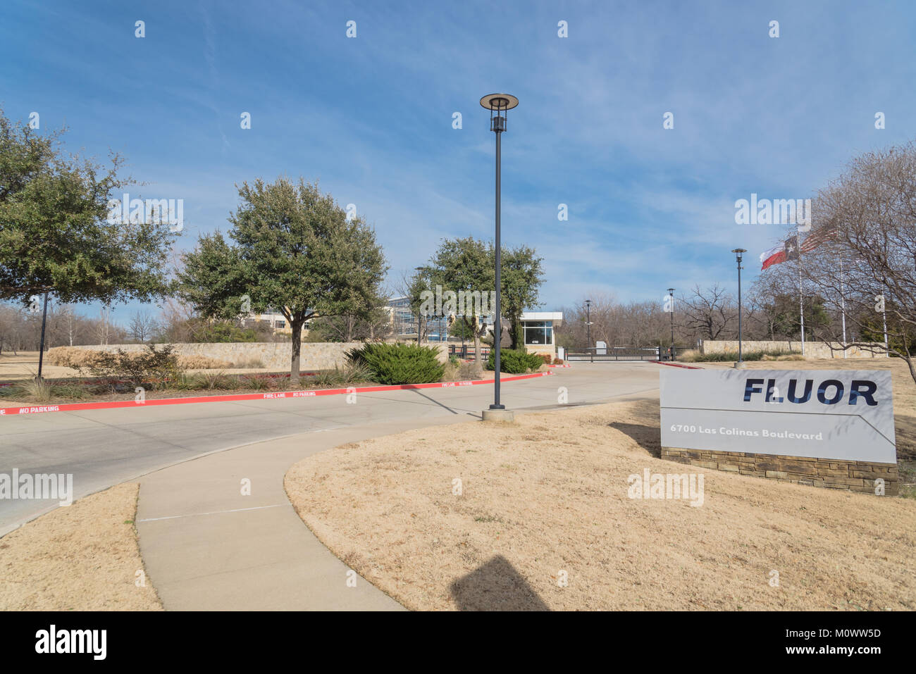 Entrance to world headquarters of Fluor Corporation in Irving Stock