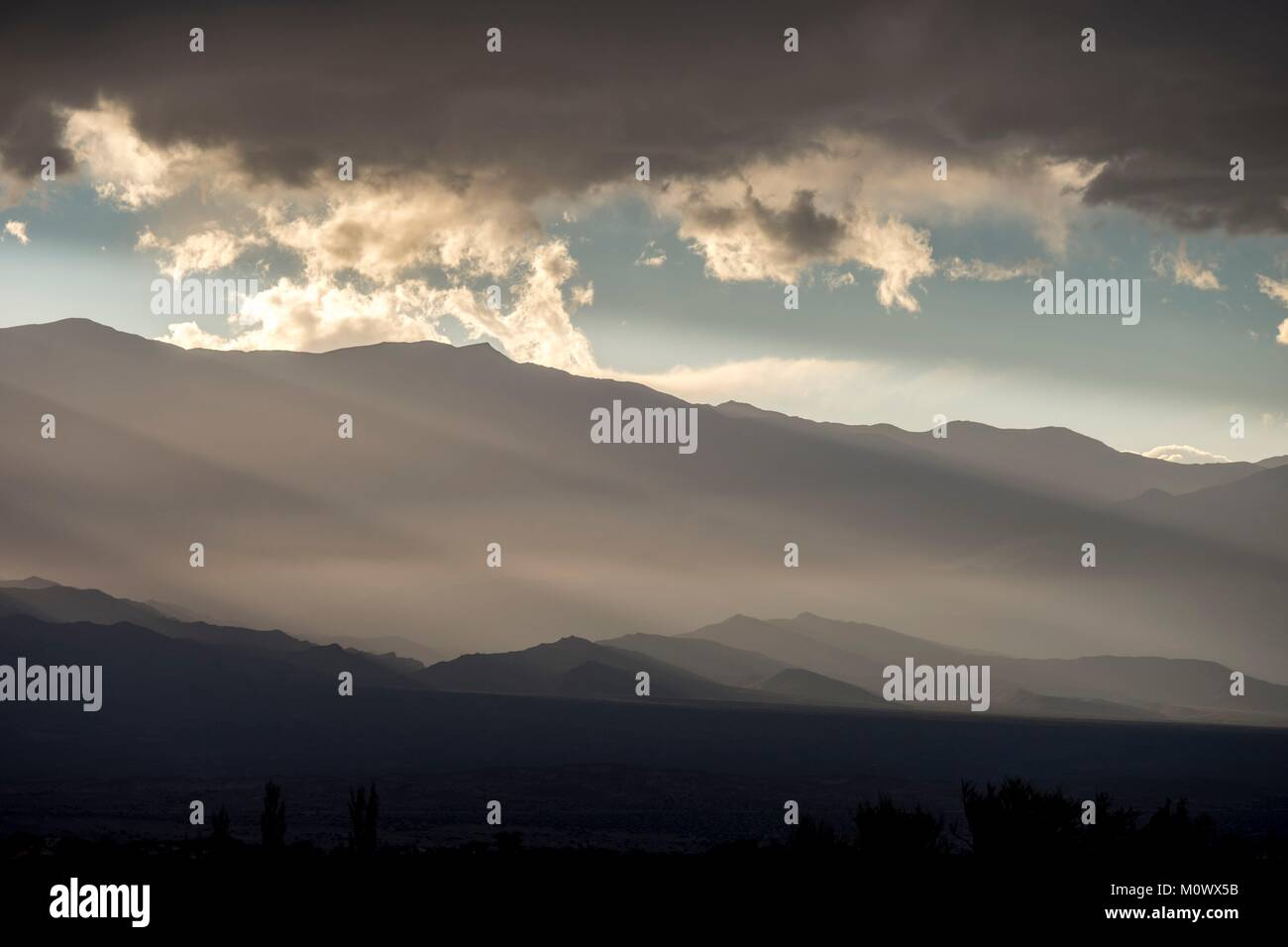 Argentine,Catamarca province,sunset over the Cordillere,Andes mountains - Stock Image