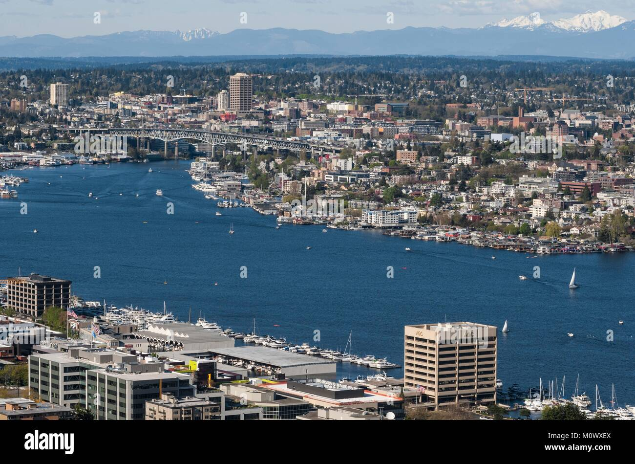 United States,Washington state,Seattle,Lake Union quarter and Cascade Loop mountains view from Space Needle - Stock Image