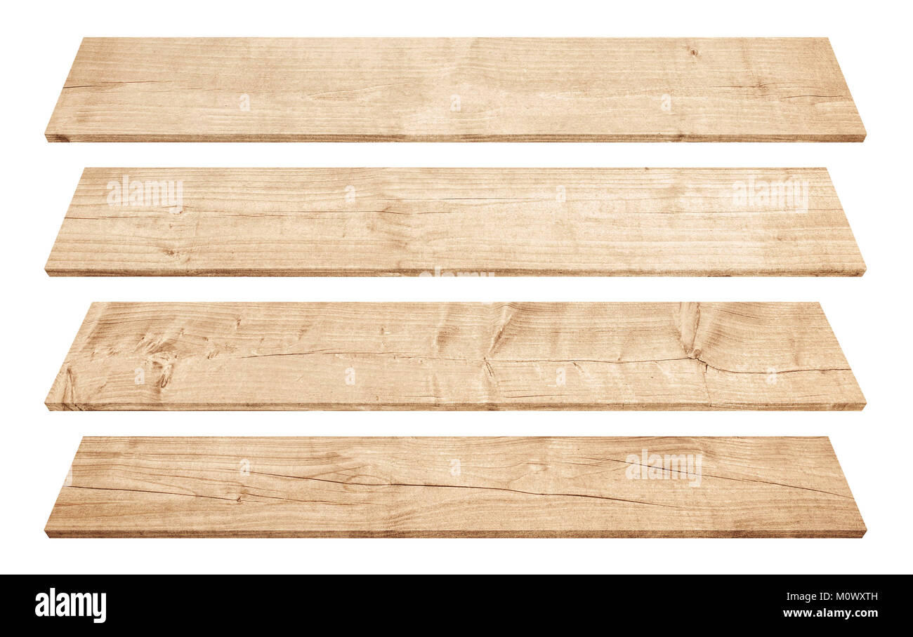 Old brown perspective wooden planks isolated on white background - Stock Image