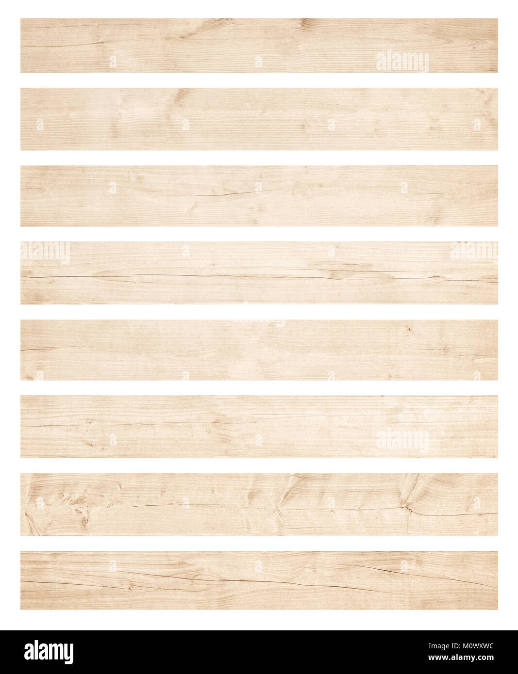 Old brown wooden planks isolated on white background - Stock Image