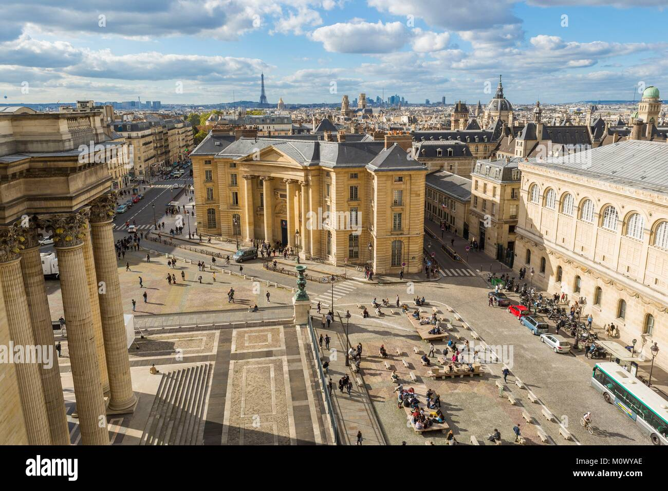 France,Paris,Pantheon roofs and the Faculty of Law,Pantheon Sorbonne University - Stock Image