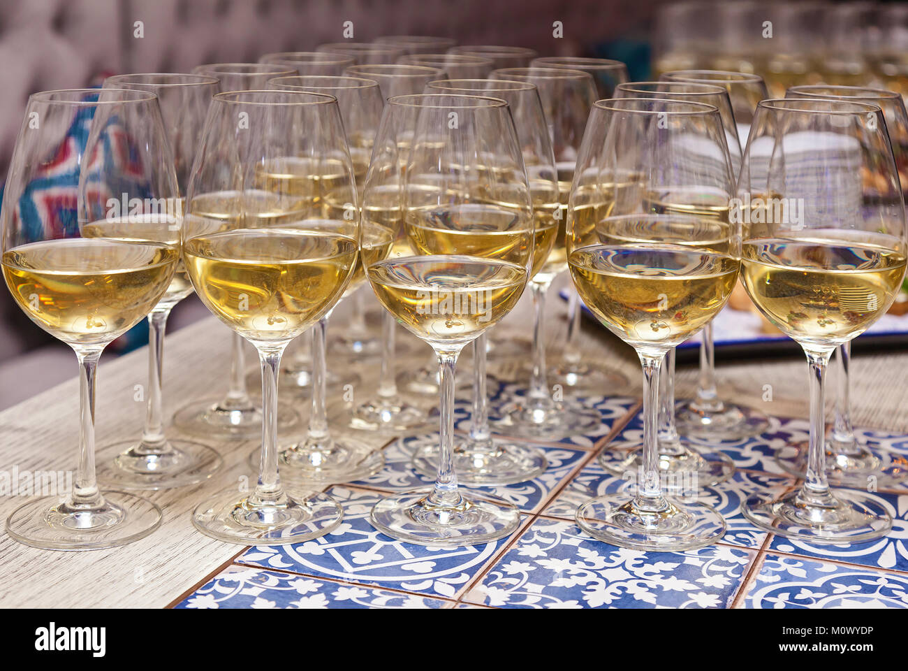 Glasses of champagne on the table. - Stock Image