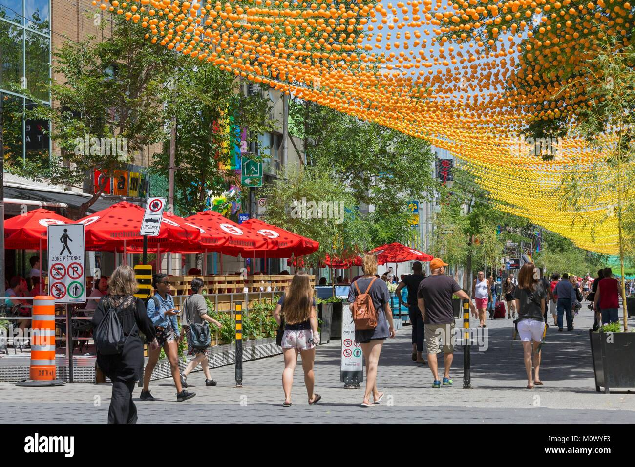 Canada,Quebec province,Montreal,The Village neighborhood,gay neighborhood of the city,St. Catherine Street,the rainbow - Stock Image