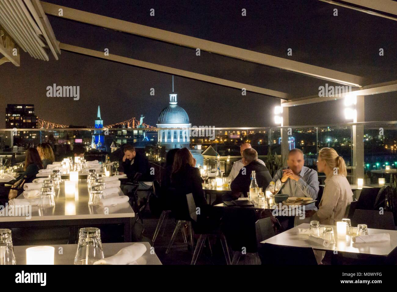 Canada,Quebec province,Montreal,Old Montreal,the terrace of the luxury hotel William Gray with its view of Jacques - Stock Image