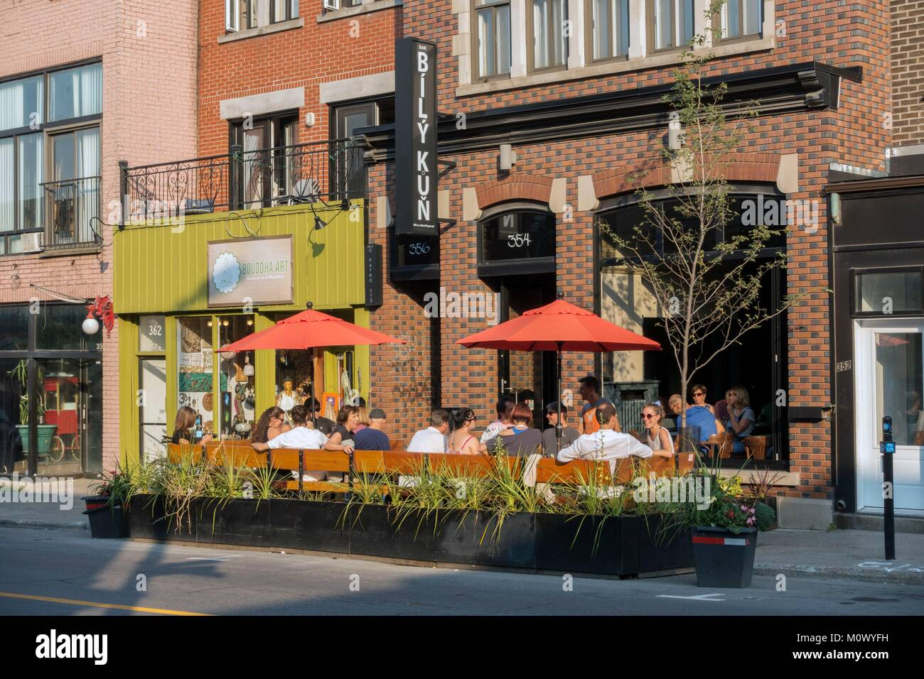 Canada,Quebec province,Montreal,Plateau-Mont-Royal neighborhood,Mont-Royal Avenue and its summer terraces,Bily Kun - Stock Image