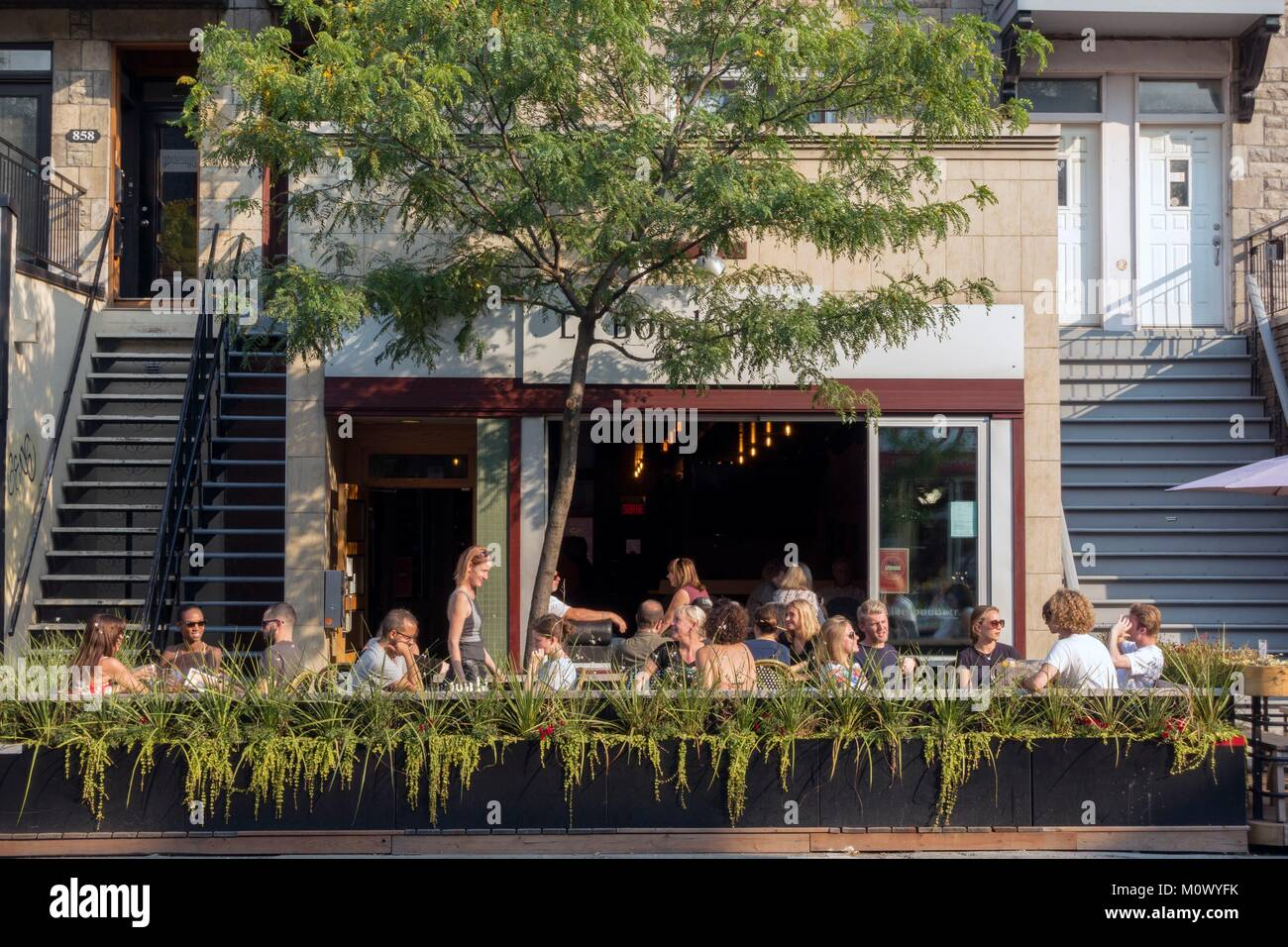 Canada,Quebec province,Montreal,Plateau-Mont-Royal neighborhood,Mont-Royal Avenue and its summer terraces,Le Boudoir - Stock Image