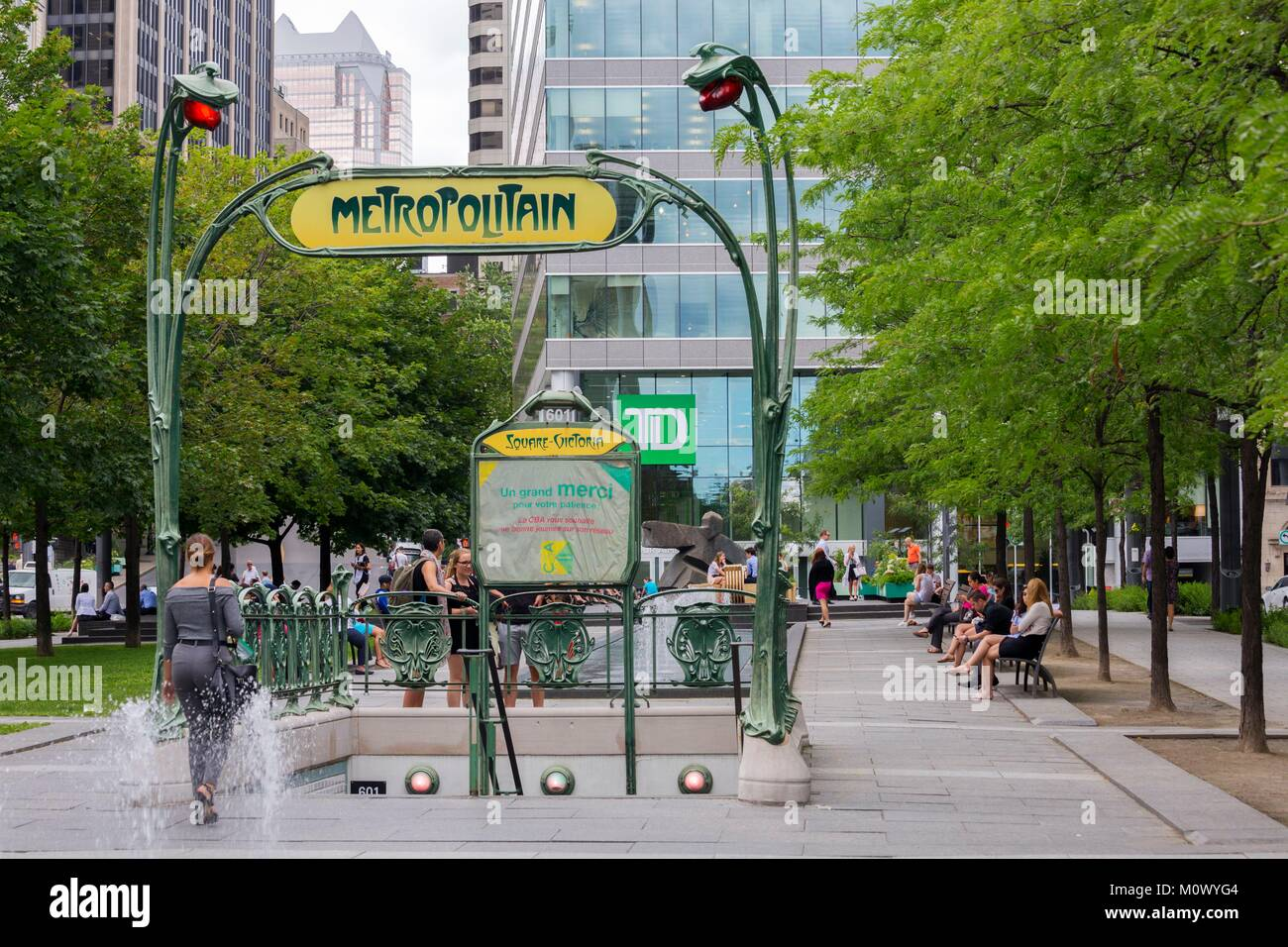 Canada,Quebec province,Montreal,The Montreal International District,Victoria Square,Art Nouveau Metro Mouth by Hector - Stock Image