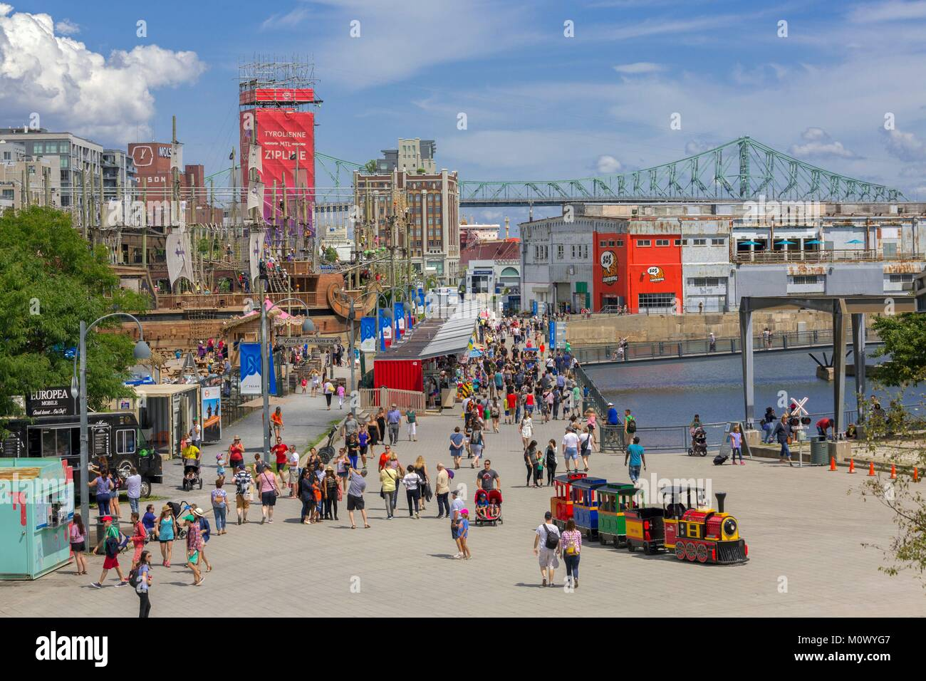 Canada,Quebec province,Montreal,Old Montreal,Old Port,Jacques Cartier Wharf and its summer activities - Stock Image