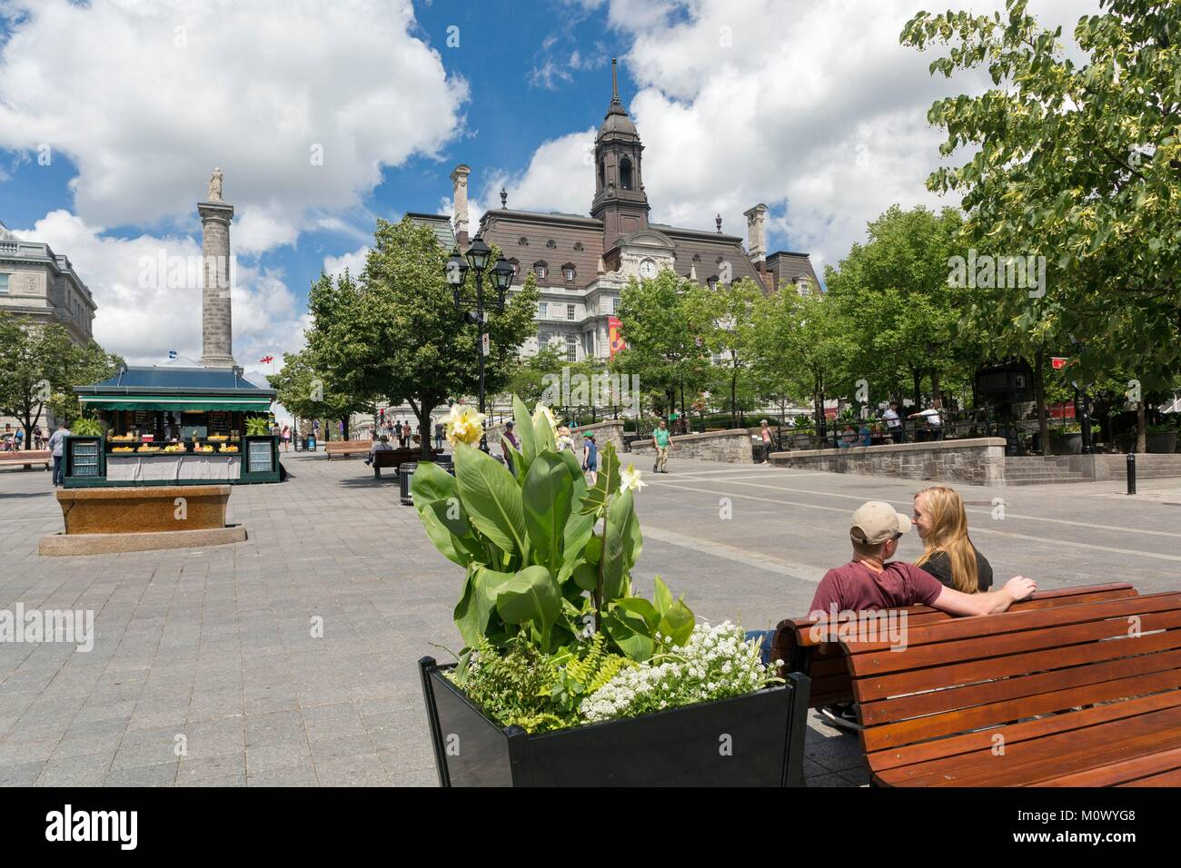 Canada,Quebec province,Montreal,Old Montreal,Place Jacques-Cartier and City Hall,couple on a Bench,Nelson Column - Stock Image