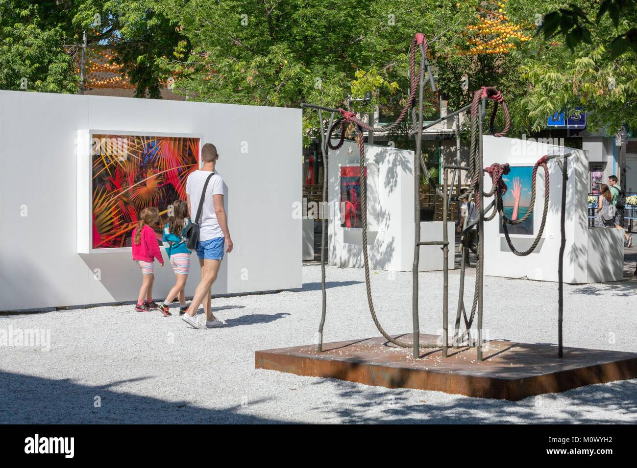 Canada,Quebec province,Montreal,the Village,St. Catherine Street,the open gallery White Gallery,photographic works - Stock Image