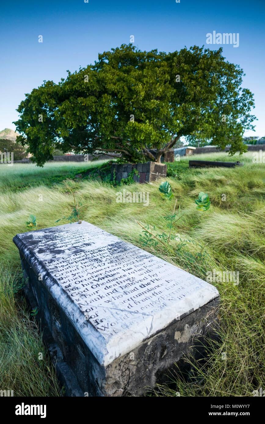 Netherlands,Sint Eustatius,Oranjestad,Jewish Cemetery,used from 1742-1843,gravestones Stock Photo