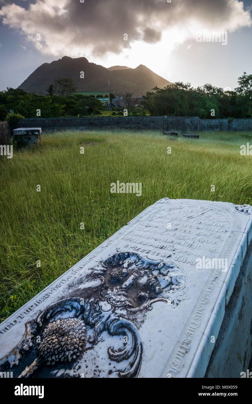 Netherlands,Sint Eustatius,Oranjestad,Jewish Cemetery,used from 1742-1843,gravestones - Stock Image