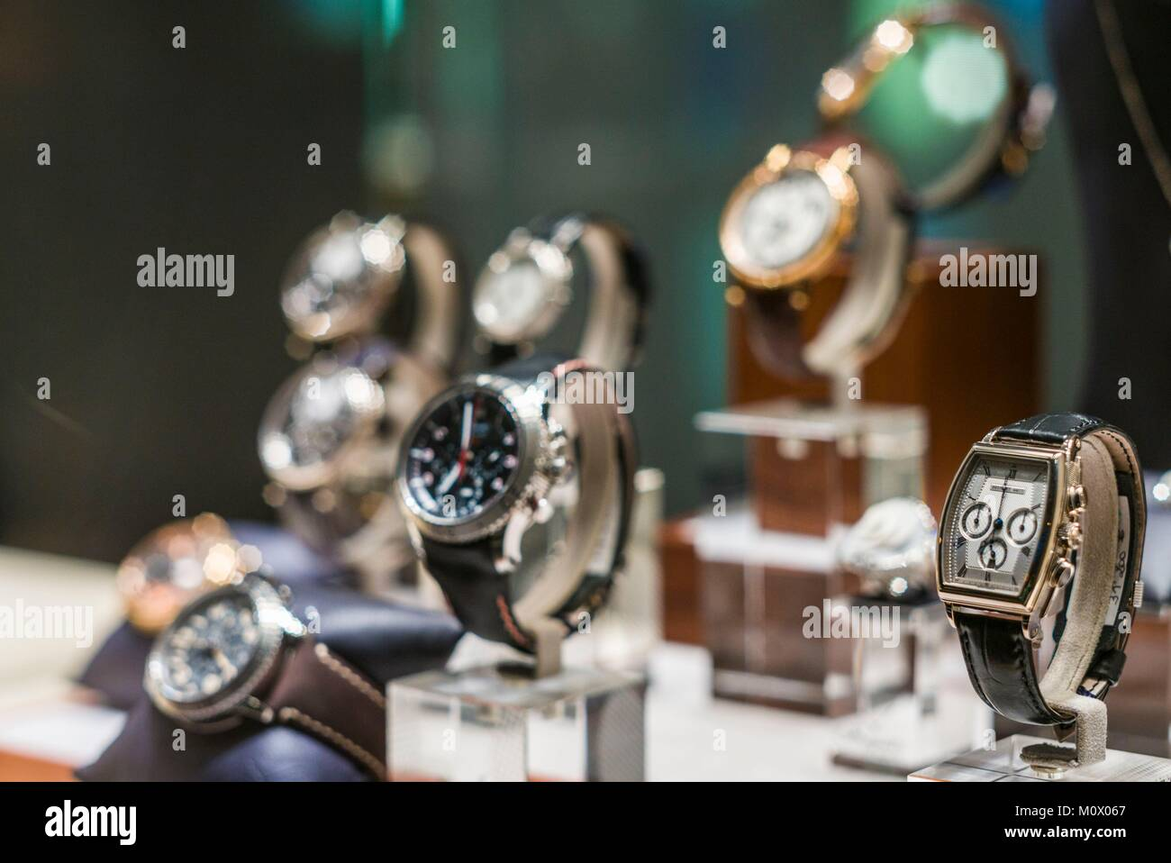 French West Indies,St-Barthelemy,Gustavia,shopping,wristwatches - Stock Image