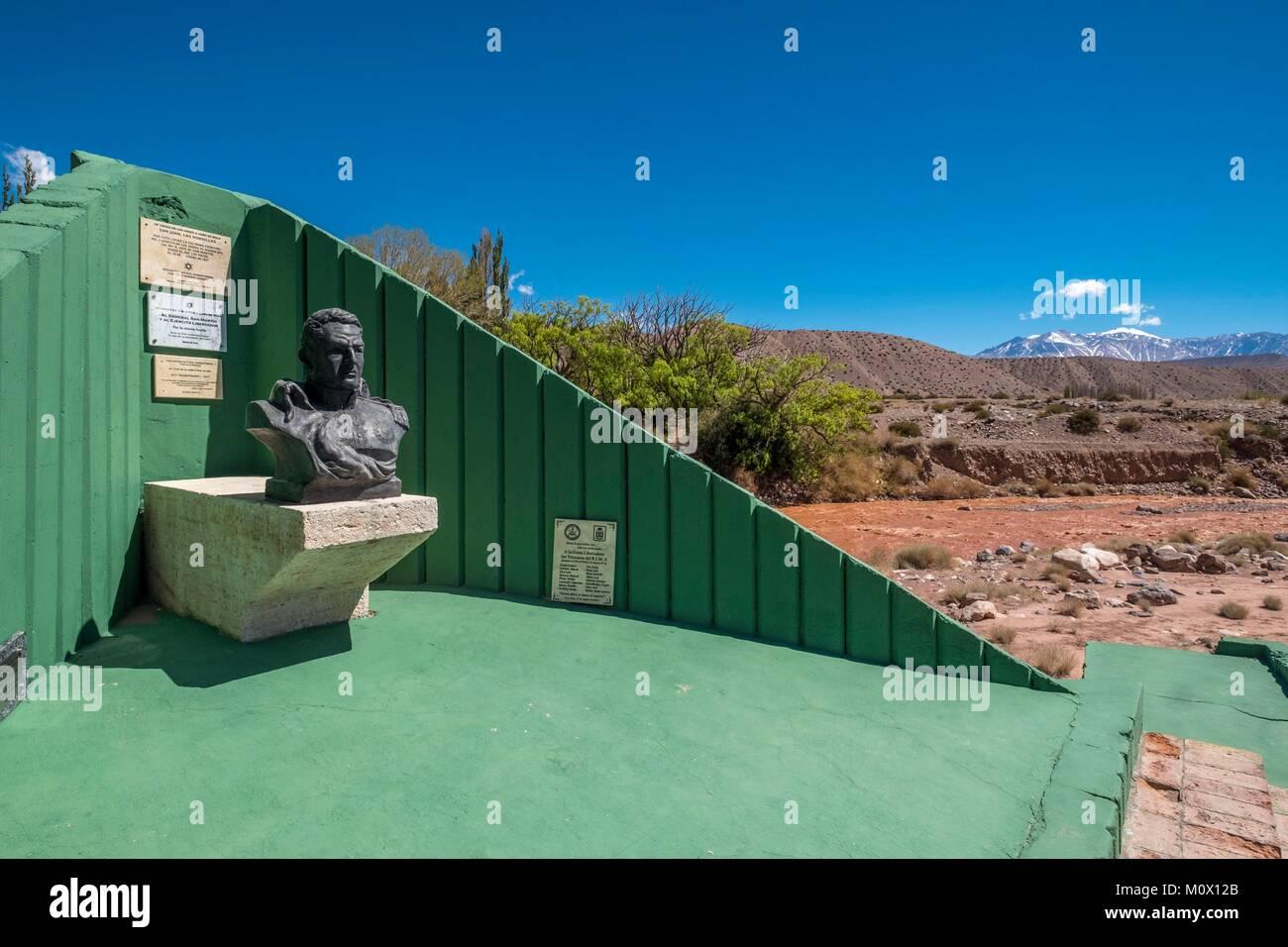 Argentina,San Juan Province,Barreal,Rio de Los Patos valley,General San Martin statue - Stock Image