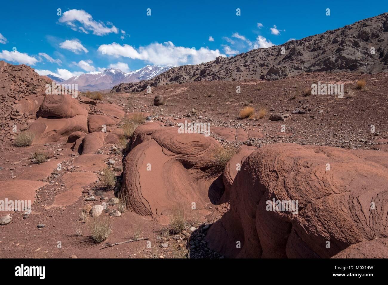 Argentina,San Juan Province,Barreal,Rio de Los Patos valley,wind erosion - Stock Image