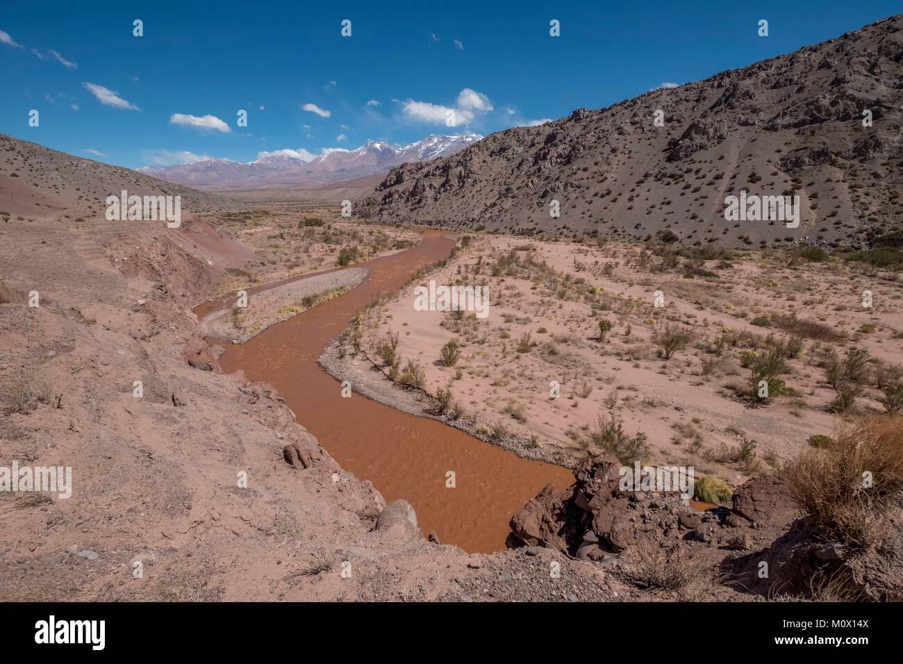 Argentina,San Juan province,Barreal,Rio de los Patos valley laden with alluvial deposits,the valley where General - Stock Image