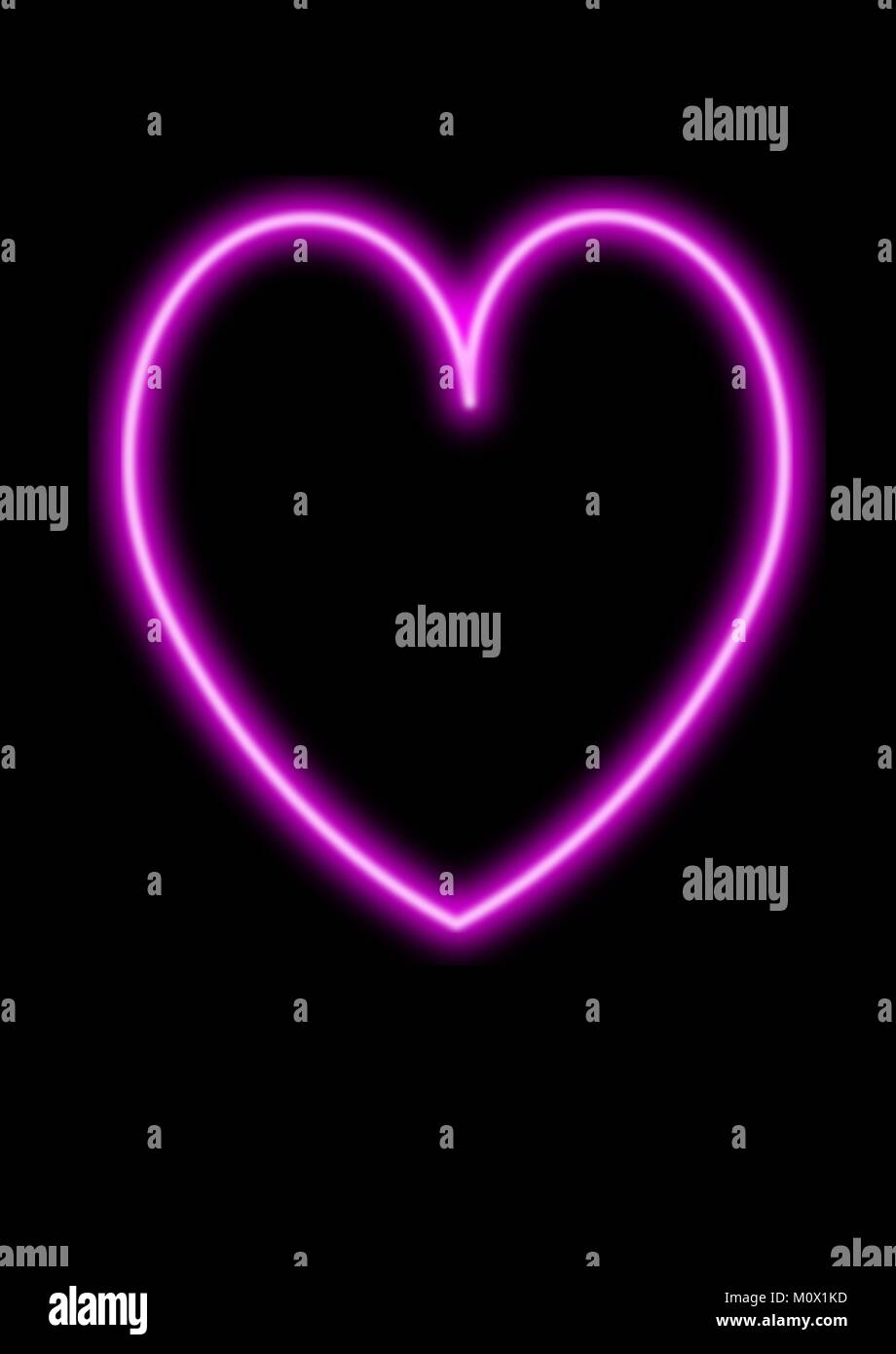 Neon Bright Pink Heart On Plain Black Background