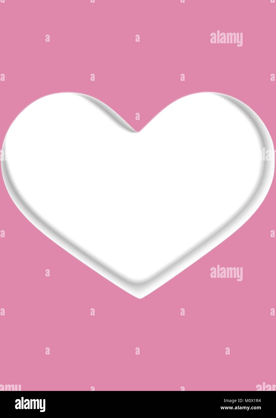 White 3-d Style Heart On Plain Pink Background - Stock Vector