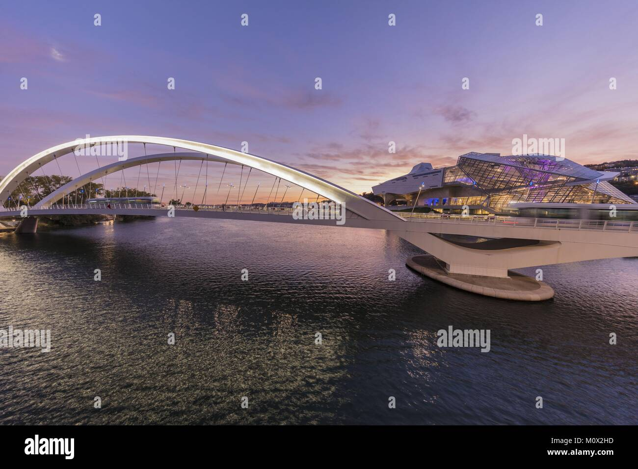 France,Rhone,Lyon,the bridge Raymond Barre above the Rhône connecting the district of the Confluence district south Stock Photo