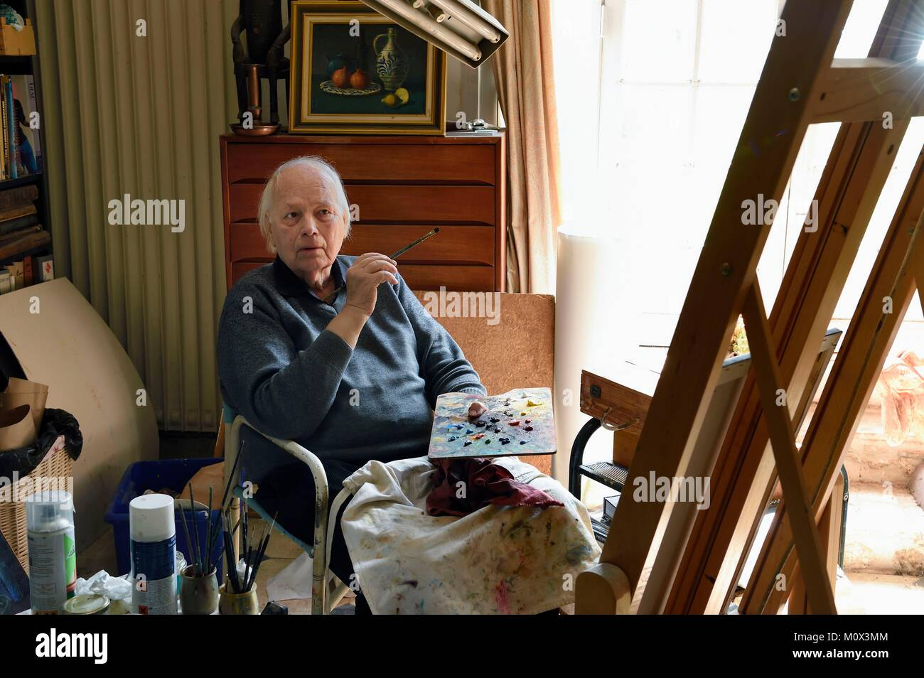 France,Yvelines,Montchauvet,in the studio of the painter Raoul Mouillard - Stock Image