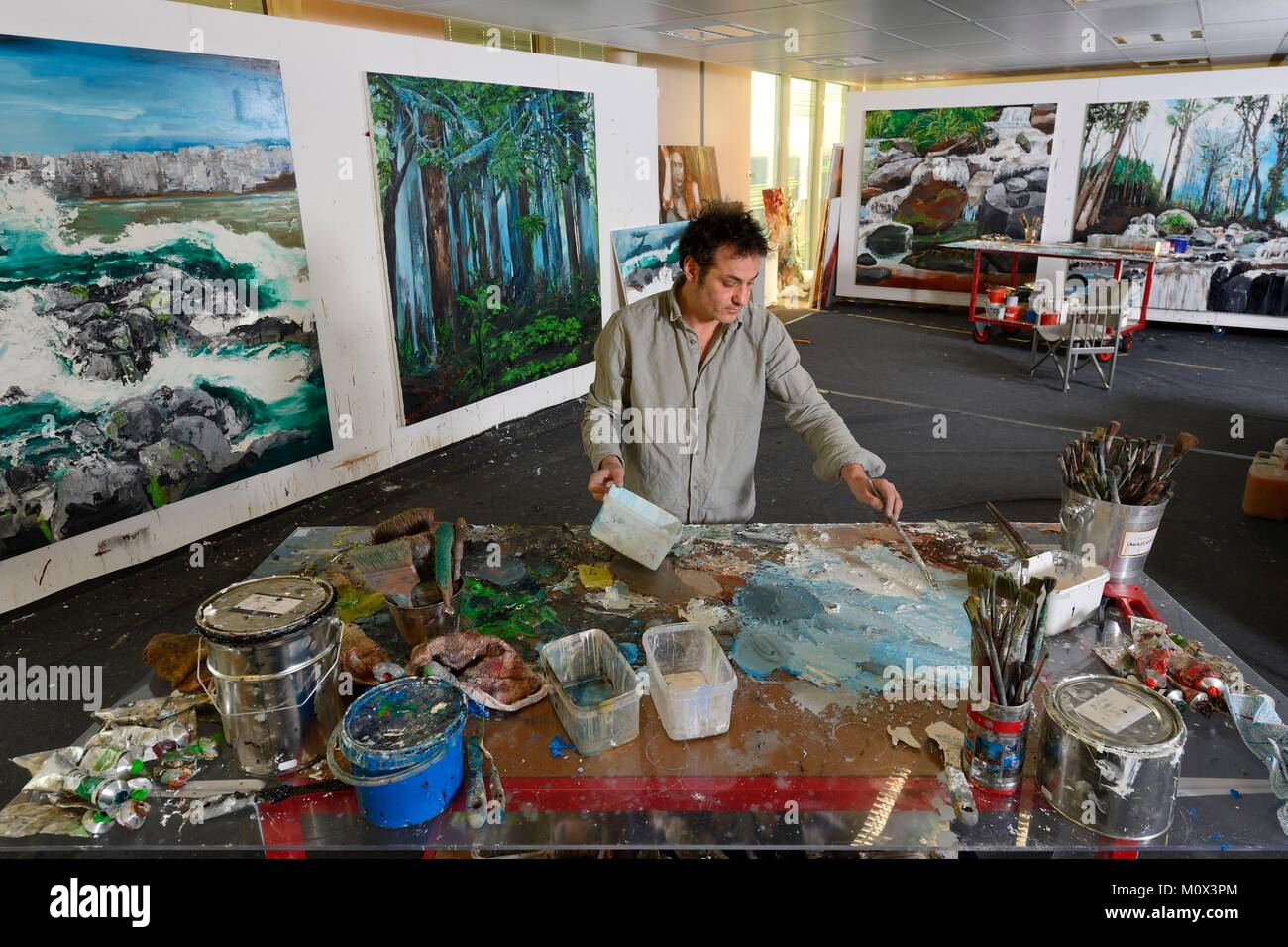 France,Val d'Oise,Gonesse,the artist Fred Kleinberg workshop within the company Manutan - Stock Image